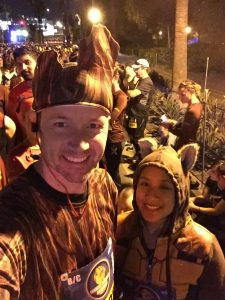 My wife and I as Groot and Rocket for the Disney Avengers Half Marathon